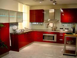 Fancy Red Accents Mirrored Kitchen Furniture Design Idea Feat Hanging Oven Microwave Mounted And Completed With Metal Hood