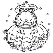 Garfield In Halloween Pumpkin Ghost Scaring Kids On Coloring Page