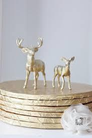 Sale 2 GOLD DEER Doe Animal Cake Topper Figurines Figurine Woodland Rustic Woodsy Whimsical Primitive Buck Country Hunting Vintage Nature