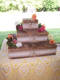 Wedding Cake Stand Reception Decorations Cupcake Stands 3 Tier Rustic Wood Burlap Lace Reclaimed