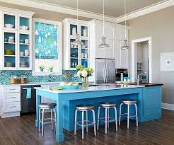 View In Gallery Blue And Nuetral Kitchen With Dark Flooring