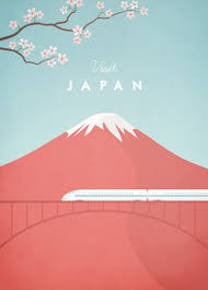 Visit Japan Travel Poster By Henry Rivers B