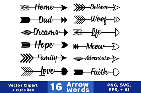 16 Arrow Words Clipart Rustic Arrows SVGs Wedding Vector Graphics