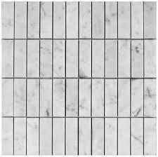 carrara bianco marble 1x3 stacked polished mosaic tile