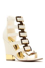 glaze white gold accent single sole wedges cicihot heel shoes