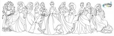 Coloring Pages All Of The Disney Princess In Princesses 2017