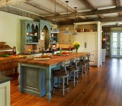 Kitchen Classic Nuance Of Traditional Created On Wooden Flooring Decorated With Island Rustic