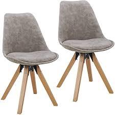 duhome 2er set stuhl esszimmerstühle küchenstühle farbauswahl mit holzbeinen sitzkissen esszimmerstuhl retro 518m farbe hellgrau material lederoptik
