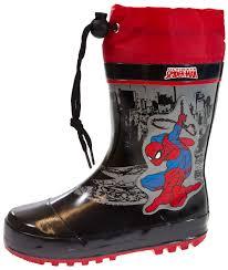 kids boys spiderman rubber snow boots tie top wellies wellingtons