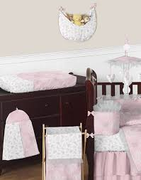 butterfly pink grey ruffle damask couture baby girls crib bedding