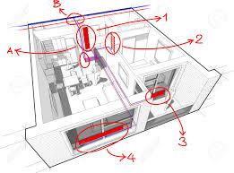 ausschnittdiagramm der perspektive einer wohnung mit einem schlafzimmer vollständig versorgt mit heizkörper und zentralheizungsrohren des heißen