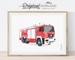 Fire Truck Print Fire Truck Wall Art Play Room Decor Fire