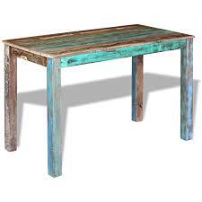 festnight retro esstisch holz tisch esszimmertisch küchentisch aus recyceltes massivholz 115x60x76cm für küche oder esszimmer