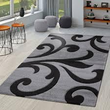 wohnzimmer teppich ranken muster konturenschnitt modern in