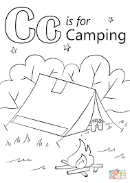 Exquisite Design Camping Coloring Pages Letter C Is For Page Free Printable