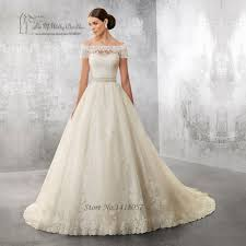 princess wedding dress 2017 lace bride dresses short sleeve