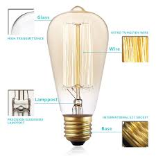 kingso vintage edison bulbs 60w squirrel cage filament