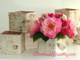 Birch Bark Vases Wood Boxes Floral Arrangement Square Flower