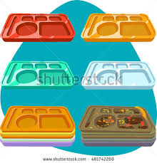 School Lunch Tray Clean And Dirty Plastic Red Yellow Green
