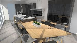 cuisine gris bois cuisine moderne avec îlot phénix gris anthracite et bois