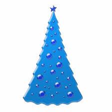 Blue Christmas Tree Photo Sculpture Decoration