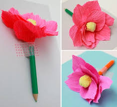 Using This Flower Tutorial I Created Crepe Flowers And Attached Them To Colored Pencils Tape A Piece Of Paper Have Your Kids Write