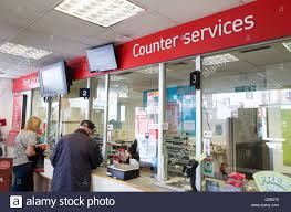 Post office counter services England UK Stock Royalty