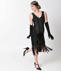 Stunning 1920s Black Dress Style Dresses Unique Vintage Bronze Beaded Sleeveless Hawkins Flapper