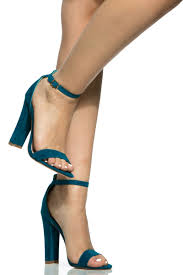 teal faux suede chunky ankle strap heels cicihot heel shoes