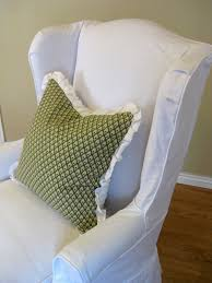 Wingback Chair Slipcover Linen by Custom Slipcovers By Shelley White Denim Wingback Chair