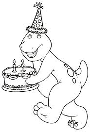 Barney Bringing A Birthday Cake Coloring Pages For Kids Printable