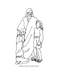 Awesome Jesus Loves The Children Coloring Page 47 For Pages Kids Online With