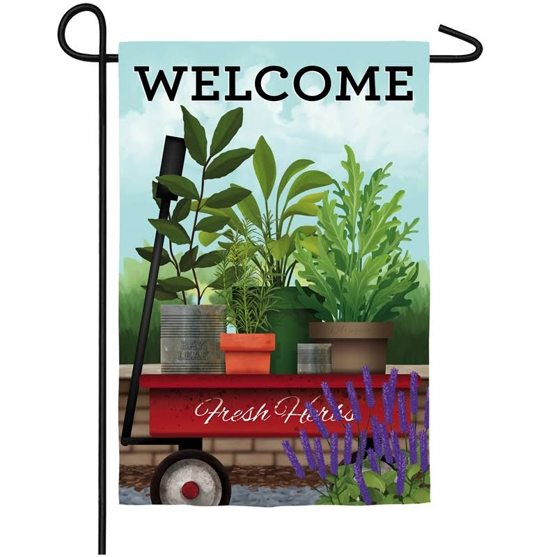 Evergreen Red Wagon Suede Garden Flag