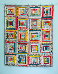 Blue is Bleu Scrappy Log Cabin Baby Quilt