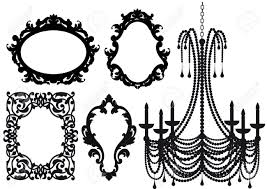 Antique Picture Frames And Crystal Chandelier Silhouette Stock Vector