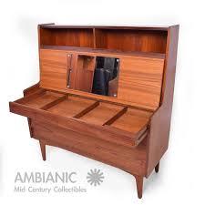 danish mid century modern teak secretary desk vanity hjerm