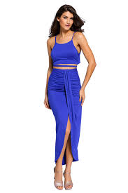 stylish royal blue cotton two piece maxi skirt set