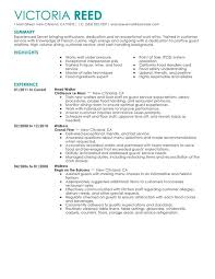 Waitress Job Resume