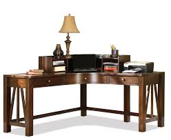 Rustic Varnished Wooden Corner Computer Desk With Bottom Shelf As Curved Brown High Gloss Finish Oak Wood V F Stretcher And Square