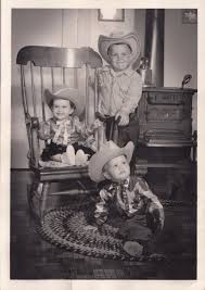100 Cowboy In Rocking Chair Vintage Photo Children Adorable Siblings