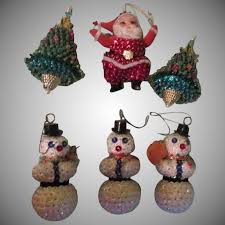 Sequined Santa Christmas Trees And Snowmen Ornaments