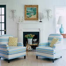 Striped Room Decor White Blue Color Scheme Modern Living Decorating Ideas