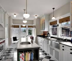 This Eclectic Galley Kitchen Layout Features Vintage Finishes With White Grey Cabinets Against Tan Wall