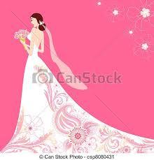 Bride In Floral Wedding Dress Vector