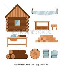 Lumberjack Woodworking Tools Icons Vector Illustration