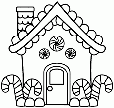 Gingerbread House Color Page Merry With Coloring Pages