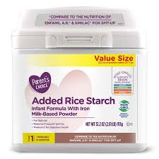 Parent s Choice Added Rice Starch Baby Formula for help with spit