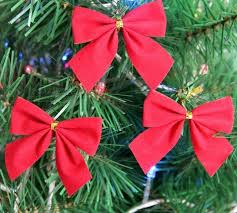 Free Shipping Small Red Christmas Bow 6cm5cm Tree Ornament