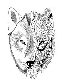 Wolf Tattoo In Two Parties Realistic And Zentangle Style