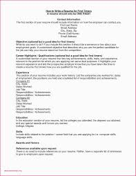 Resume Examples For College Teenager First Job Unique Elegant Pdf